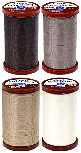 Coats N Clark Thread - 4 Color Bundle of COATS & CLARK Extra Strong Upholstery Thread - 150 yards each (Chona Brown, Driftwood, Hemp & Natural)