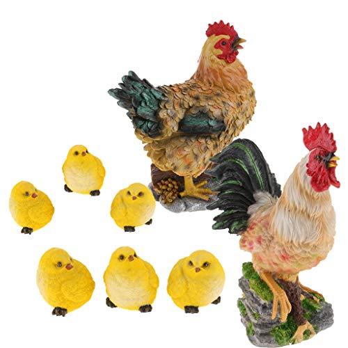 SM SunniMix 1 Set Lifelike Outdoor Lawn Ornament Decoration Chicken Family Yard Tree Decor Toy