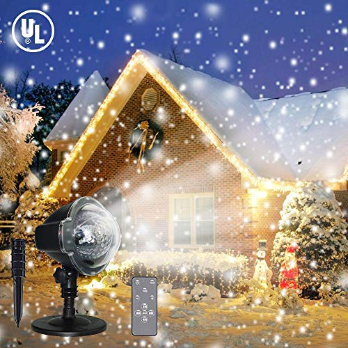 LED Christmas Projector Lights, Snowfall Light Waterproof Snow Flurries Landscape Spotlight White Snowflakes with Wireless Remote Decoration for Holiday, Wedding, Party, -