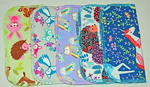 1 Ply Printed Flannel Washable. Whimsical Animal- Set Napkins 8x8 inches 5 Pack - Little Wipes (R) Flannel