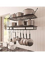 KES Pot Rack 30 Inches Kitchen Pot and Pan Organizer Rack 2-Tier Wall Pot Hangers with 12 Hooks Matte Black, KUR215S75B-BK
