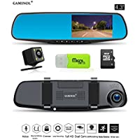 "Dash Cam Mirror Camera 4.3"" LCD FHD 1080P Dual Lens Car Camera Front and Rear View Camera with G-Sensor Parking Monitor Video Recorder"