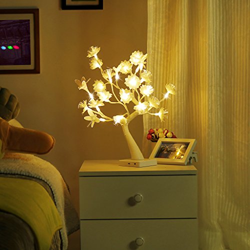 Finether Table Lamp Adjustable Dragonfly and Flower Desk Lamp |1.47 ft Tree Light for Wedding Living Room Bedroom Party Home Decor with 24 Warm White LED Lights|Two Mode: USB/Battery (1 Light Console Lamp)