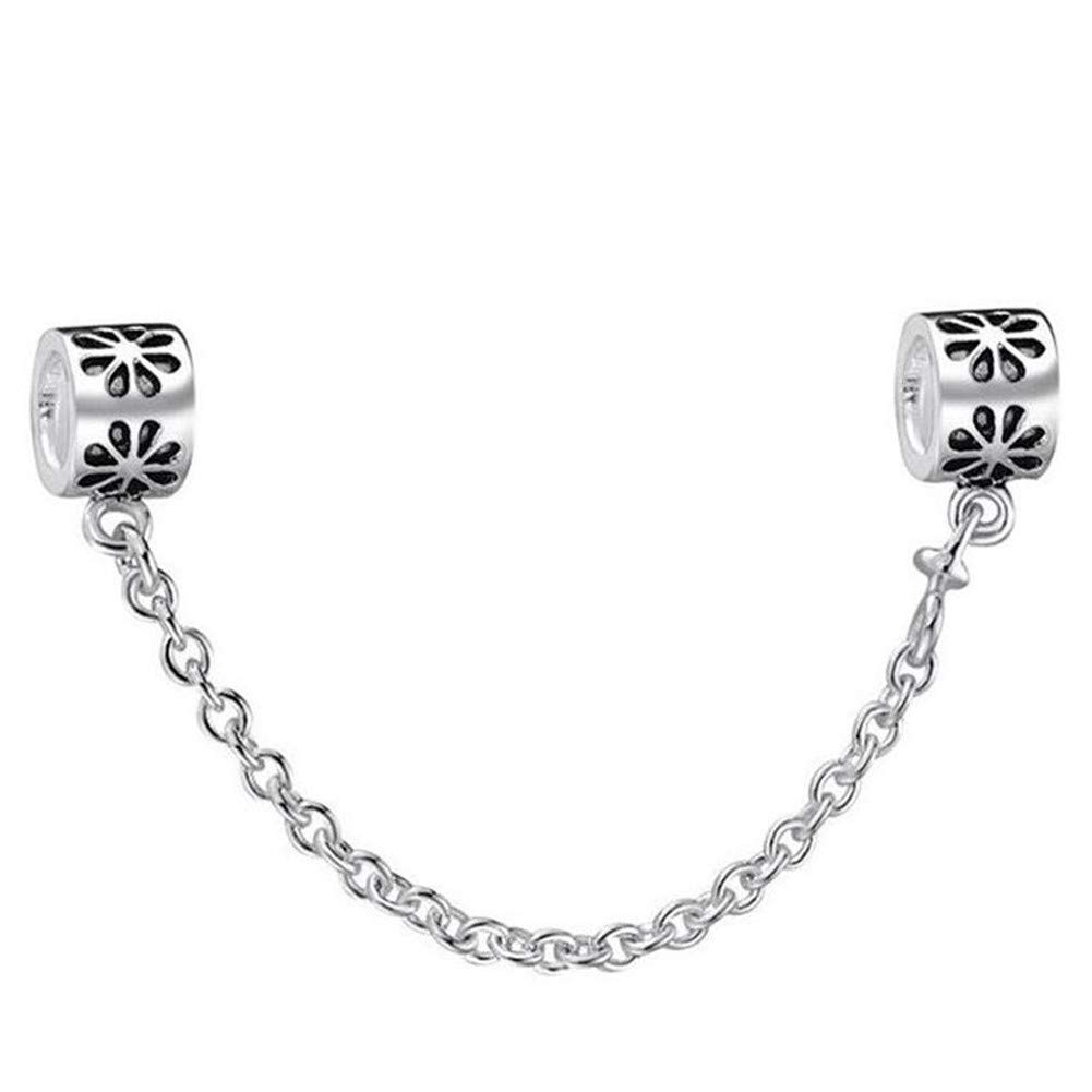 Zhiyu Silver Charms Flower Safety Chain European Beads Fit Bracelets Bangles DIY Accessories Jewelry Necklace CHINA