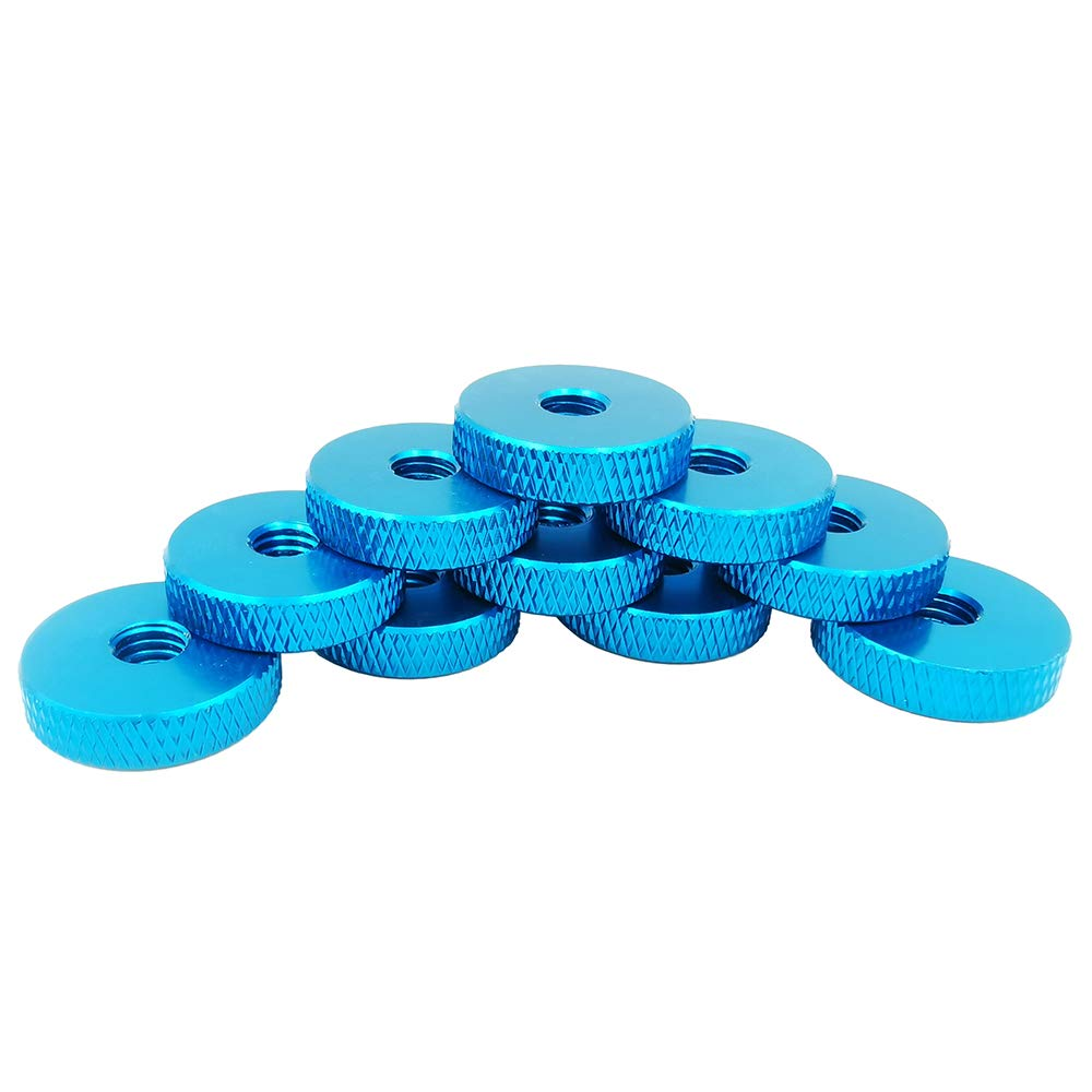 M6 Knurled Nut, Flat Knurled Nut, Thumb Thin Nut, Pack 20 Pieces (Light Blue) by Huzstar