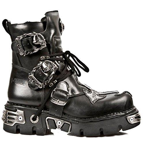 Stivali neri corti New Rock con dettagli in croce dargento e fibbie fibbia del cranio con Zip laterale