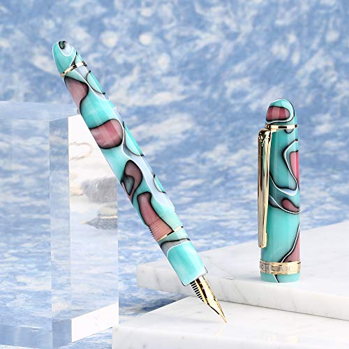 Moonman S3 Fountain Pen Blue Lake Celluloid,Iridium Fine Nib Gold Plated with Pen Pouch for Signature -