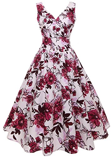 (Vogueshop Women's 1950s Vintage Sleeveless Dresses Floral Swing Dresses Cocktail Party Dresses)