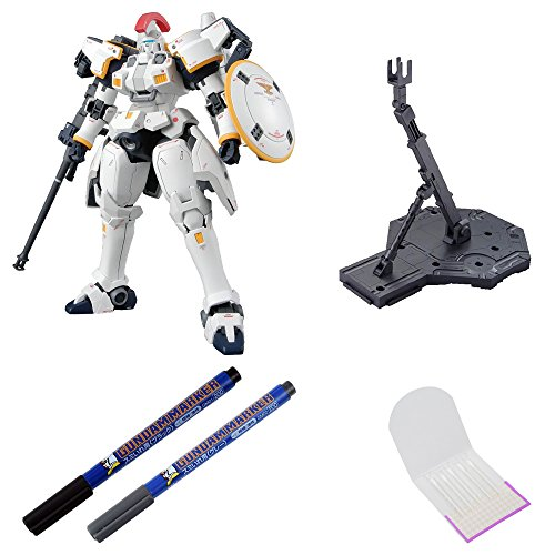 BANDAI BUNDLE SET , Master Grade Tallgeese Ver. EW 1/100 Scale Action Figure + Action Base 1 Display Stand 1/100 Scale Black + GSI Creos Black + Gray Fine Point Gundam Marker + ORIGINAL COTTON SWAB