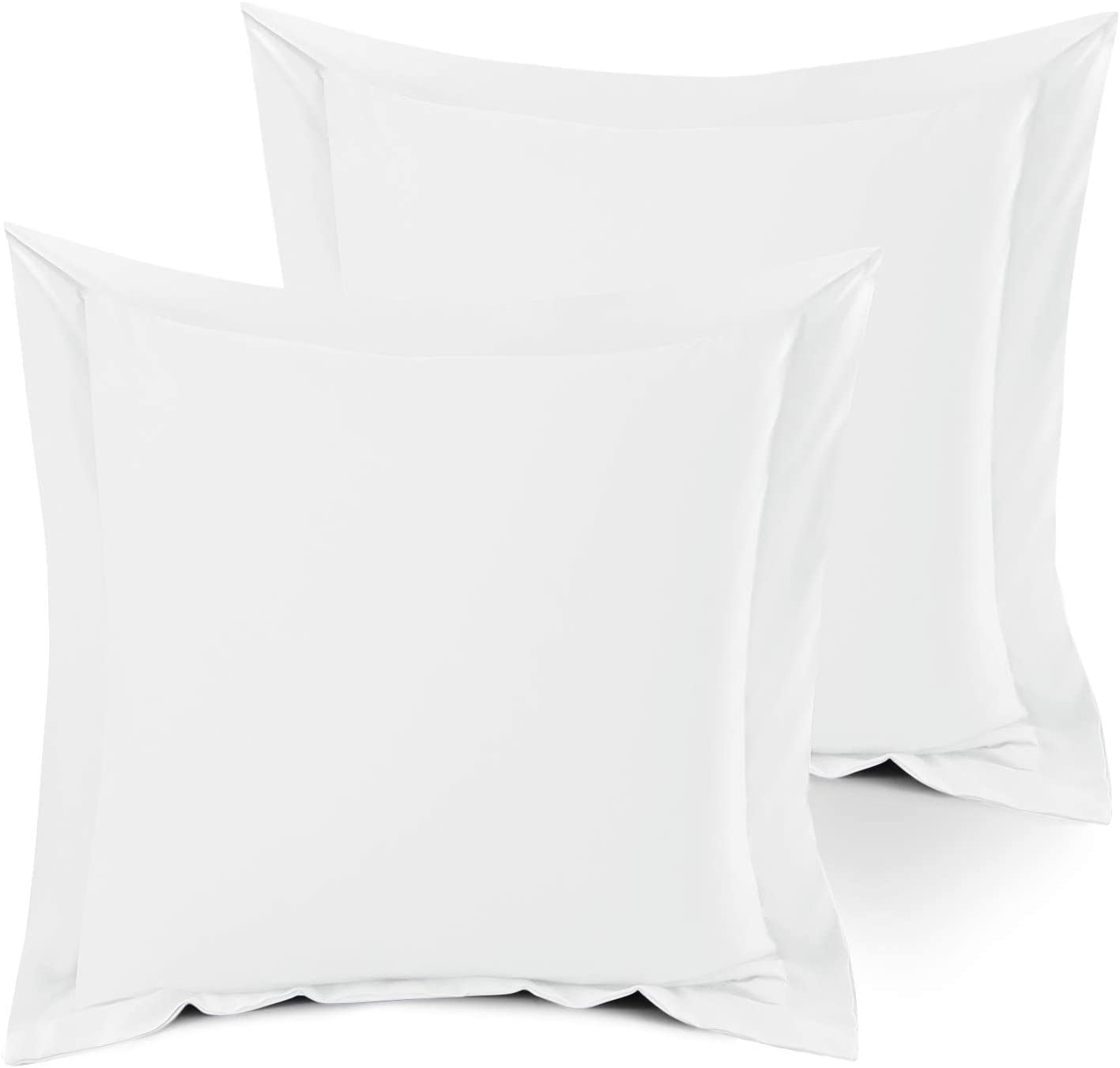 """Nestl Bedding Soft Pillow Shams Set of 2 - Double Brushed Microfiber Hypoallergenic Pillow Covers - Hotel Style Premium Bed Pillow Cases, Euro 18""""x18"""" - White"""