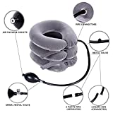 Ohuhu Neck Cervical Traction Collar Device For Head &Neck Pain Neck Spine Alignment Pillow, Grey