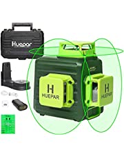 Huepar 3D Green Laser Level 3x360 Cross Line Self-Leveling Green Beam Three-Plane Leveling and Alignment Laser Tool, Li-ion Battery with Type-C Charging Port & Hard Carry Case Included (B03CG)