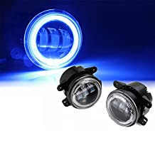 Xprite 4 Inch 60W Cree LED Fog Lights with Blue Halo Ring DRL for Jeep Wrangler 97-17 JK TJ LJ Off Road Fog Lamps