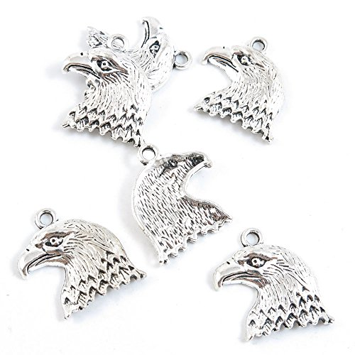 40 Pieces Antique Silver Tone Jewelry Making Charms Supply ZY3915 Eagle Hawk Head