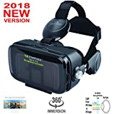 VR Headset Virtual Reality Headset VR Goggles for iPhone X 8 7 6 Plus Samsung S9 S9+ S8 S7 S6 S8 Plus HTC Sony All Mobile Screen Size Between 4.0-6.2 inch with Anti-Blue-Light Lenses; 120 degree FOV