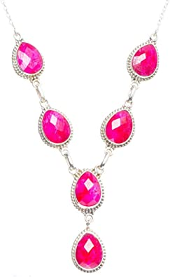 Fashion Jewelry Men Women Natural Ruby Water Drop Silver Necklace Pendant Gift