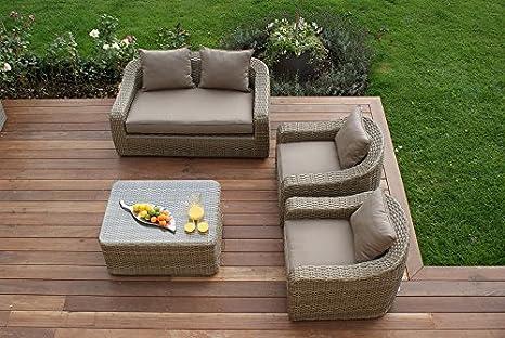 Aston 2 Plazas Ratán Muebles de jardín Redondo Juego de sofá ...