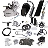 "Iglobalbuy 80CC 2 Stroke Gas Engine Motor Kit for 26""-28""Wheel Motorized Bicycle (Silver)"