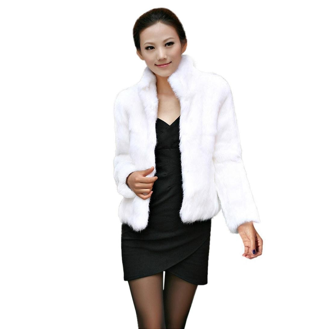 Tsmile Womens Coat Clearance Fashion Winter Warm Fox Short Coat Jacket Lady Parka Casual Solid Color Outerwear (White, L)