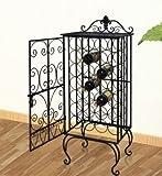 SKB Family Modular Metal Wine Rack Wine Table with Hooks for 28 Bottles Holder wine