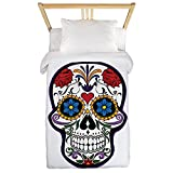 Twin Duvet Cover Floral Sugar Skull Day of the Dead