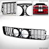 S&T Racing Matte Black Finished Honeycomb Mesh Bumper Grill Grille for 2005-2009 Ford Mustang GT