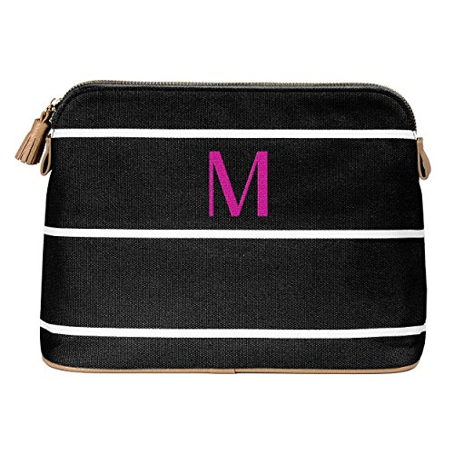 (Cathy's Concepts Personalized Striped Cosmetic Bag, Black, Letter M)