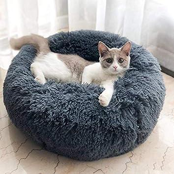 T-MIX Cama para Mascotas, Plush Donut Cama de Mascotas Nido colchón, para Gatos y Perros pequeños y medianos, Alivio de Las articulaciones y sueño ...