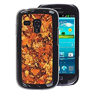 A-type Arte & diseño plástico duro Fundas Cover Cubre Hard Case Cover para Samsung Galaxy S3 MINI 8190 (NOT S3) (Leaves Golden Brown Yellow Forest)