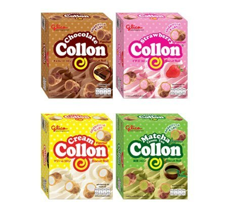 (Glico Collon Biscuit Roll (1.9Oz)Pack of 4 Flavors,Chocolate,Strawberry,Green tea &Cream,Crispy biscuit tubes filled with a delicious fluffy 4 Flavored)