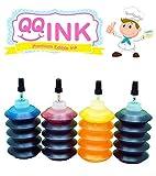 Premium QQink Edible Ink Refill Kit for Epson Printer - 1 oz Bottles (BK / C / Y / M)