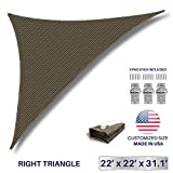 Windscreen4less 22' x 22' x 31.1' Sunshade Sail Triangle Canopy in Brown Included Free 3 Pad Eyes with Commercial Grade (3 Year Warranty) Customized Size