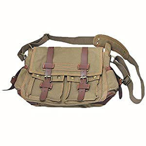 HOT Men's Vintage Canvas Leather Satchel School Military Shoulder Messenger Bag