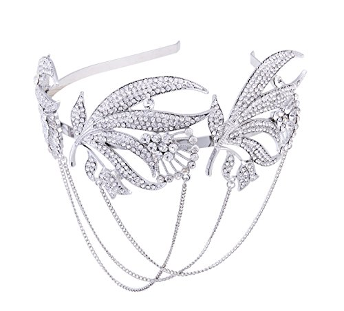 Vintage Bridal Headpieces - BABEYOND Roaring 20s Forehead Band 1920s Bridal Headpiece Vintage Forehead Chain for Wedding Bridesmaid Gatsby Costume Accessories with Gift Box