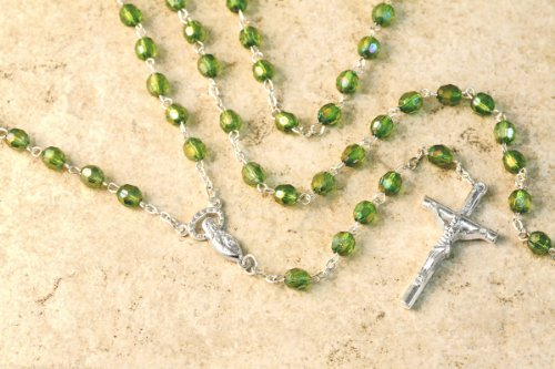 Italian Glass Rosary with Green Diamond Cut Beads & Silver Plated Chain and Crucifix