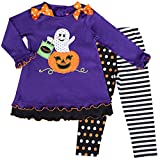 Good Lad Little Girls' Halloween Applique Legging Set, Purple, 6X