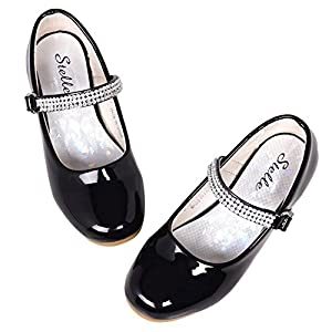 STELLE Girls Mary Jane Shoes Low Heel Party Dress Shoes for Kids (13ML, Black)