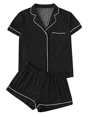 Floerns Women's Notch Collar Short Sleeve Sleepwear Two Piece Pajama Set Black L