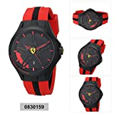 Ferrari Mens 0830159 Lap-Time Black and Red Watch