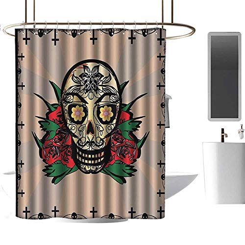Mexican Decorations Sugar Skull with Red Rose and