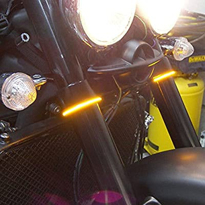 Motorcycle Fork LED Turn Signal Strip Lights Kit Smoked Lens for Harley Davidson Victory Universal Super Bright and Waterproof Cool Motor Lamp 2Pcs - Amber (39mm - 41mm): Automotive