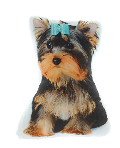 Dog Themed Decorative Accent Pillow, Yorkshire Terrier with Bow Approx 14