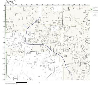 Fairlawn Ohio Map.Amazon Com Zip Code Wall Map Of Fairlawn Oh Zip Code Map Not