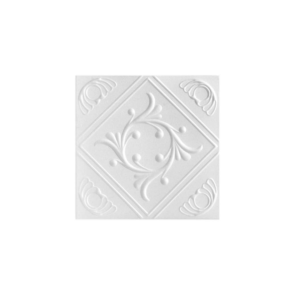 A-la-Maison-Ceilings-1156-Diamond-Wreath-Styrofoam-Ceiling-Tile-Package-of-8-Tiles-Plain-White