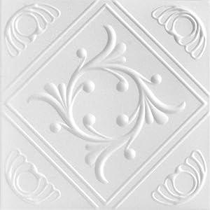 A la Maison Ceilings 1156 Diamond Wreath - Styrofoam Ceiling Tile (Package of 8 Tiles), Plain White 7