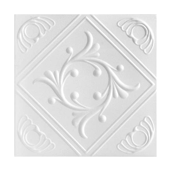 A-la-Maison-Ceilings-1156-Diamond-Wreath-Styrofoam-Ceiling-Tile-Package-of-8-Tiles-Plain-White