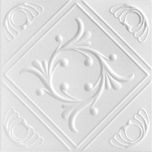 Decorative Ceiling Tile (A la Maison Ceilings 1156 Diamond Wreath - Styrofoam Ceiling Tile (Package of 8 Tiles), Plain White)