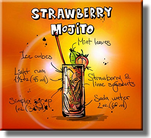 Strawberry Mojito Cocktail Recipe Picture on Stretched Canvas, Wall Art Decor, Ready to Hang! ()