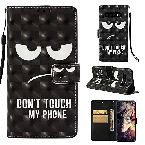 MerKuyom Galaxy S10 Case, for [S10] [Wrist Strap] [Kickstand] Premium PU Leather Wallet Pouch [Card Holder] Protective Flip Cover Case W/Stylus (Don