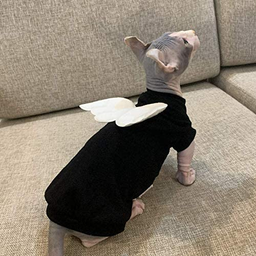 Sphynx Hairless Cat Cute Breathable Summer Cotton Dress Skirt Shirts with Wings Pet Clothes,Round Collar Kitten T-Shirts with Sleeves, Cats & Small Dogs Apparel 24